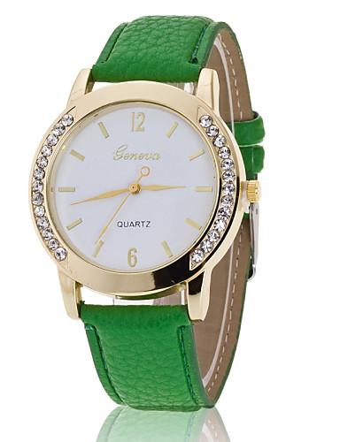 Damen Armbanduhr Imitation Diamant PU Band Charme / Modisch / Simulierte Diamant-Uhr Schwarz / Weiß / Blau