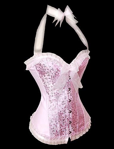 Damen Haken & Öse Unterbrustkorsett Brustkorsett Blumen - Polyester Nylon Rosa