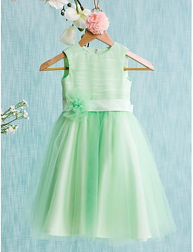 Balo Abiyesi Taşlı Yaka Diz Boyu Saten Tül Fiyonk Kurdeleler Çiçekli ile Çiçekçi Kız Elbisesi tarafından LAN TING BRIDE®