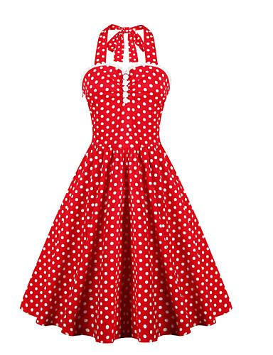 Damen Kleid-Lässig/Alltäglich Übergröße Retro Punkt Halter Knielang Ärmellos Baumwolle Polyester Sommer Hohe Hüfthöhe Mikro-elastisch