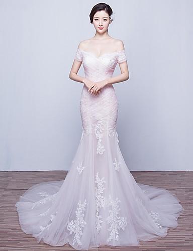 Trompete / Meerjungfrau Hof Schleppe Tüll Hochzeitskleid mit Applikationen durch LAN TING BRIDE®