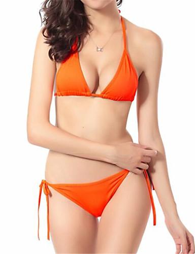 Damen Drahtlos Halfter Bikinis Einfarbig Mit Schleife Polyester Elasthan,Solide