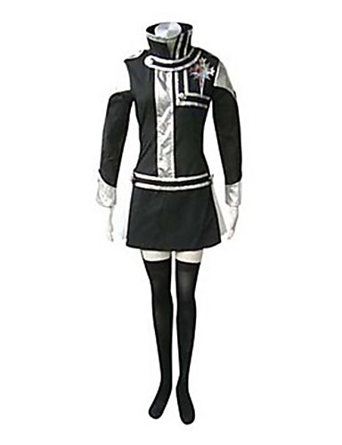 billige Cosplay og kostumer-Inspireret af D.Grå-mand Lenalee Lee Anime Cosplay Kostumer Cosplay Kostumer Patchwork Langærmet Kjole / Emblem Til Dame