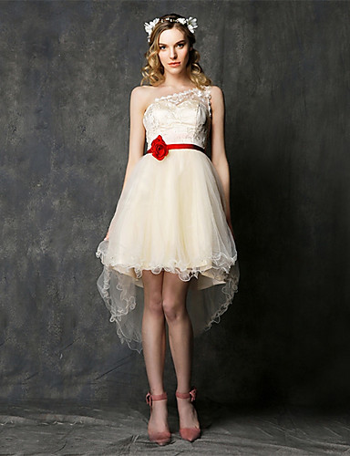 Asymmetrische Spitze / Tüll Brautjungfer Kleid - a-line eine Schulter mit Spitze / Schärpe / Band