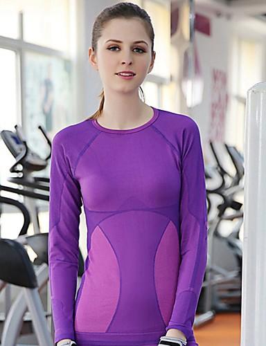 Damen Einfarbig Einfach / Aktiv Sport T-shirt,Rundhalsausschnitt Sommer Langarm Schwarz / Lila Polyester / Nylon / Elasthan Dünn