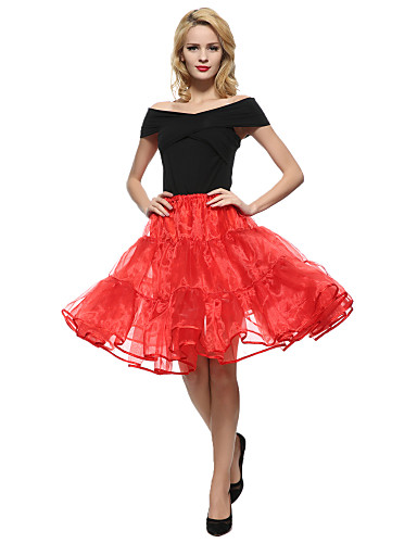 cheap Women's Skirts-Women's Party / Cocktail Street chic A Line Skirts - Solid Colored Tulle Black White Red M XL