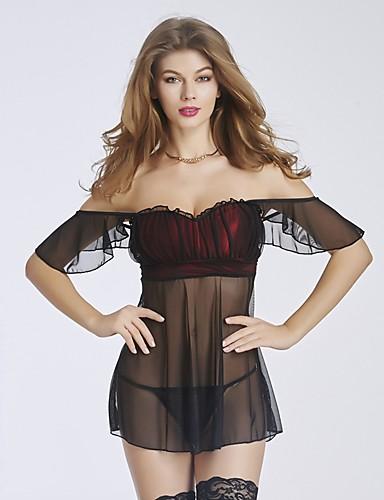 Damen Babydoll & slips Besonders sexy Teddy Uniformen & Cheongsams Anzüge Nachtwäsche,Sexy Push-Up Spitze Druck Retro einfarbig