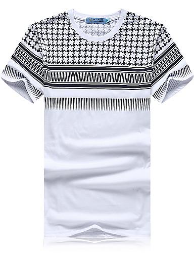 Tee-Shirt Pour des hommes A Motifs Décontracté / Sport Manches Courtes Coton Blanc