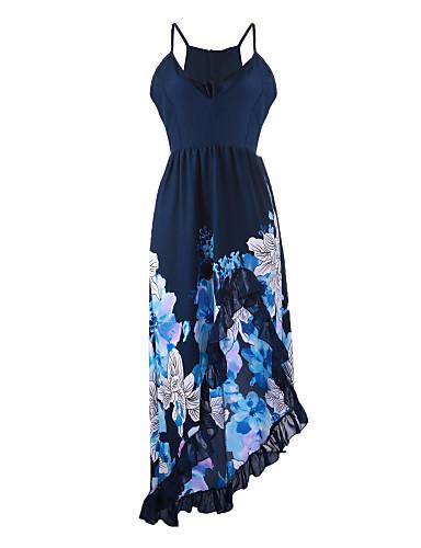 Robe Aux femmes Trompette/Sirène Sexy / Décontracté , Fleur A Bretelles Asymétrique Mousseline de soie