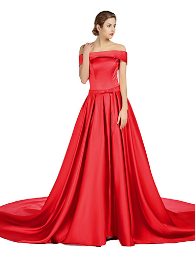 A-Line Off Shoulder Court Train Satin Formal Evening Dress with Draping Sash / Ribbon Pocket by TS Couture®