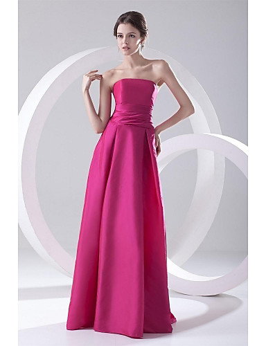 A-Linie Trägerlos Boden-Länge Taft Formeller Abend Kleid mit Plissee durch TS Couture®