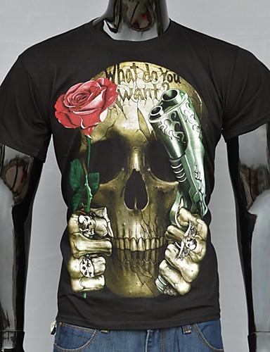 Masculino Camiseta Algodão Estampado Manga Curta Casual / Escritório / Formal / Esporte-Preto