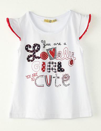 Mädchen T-Shirt Ausgehen Polyester Sommer Kurzarm Weiß