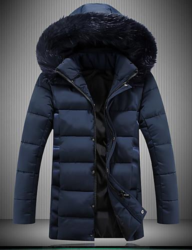 Manteau Rembourré Hommes,Long Décontracté / Quotidien Travail Grandes Tailles Couleur Pleine-Spandex Polyester Manches Longues