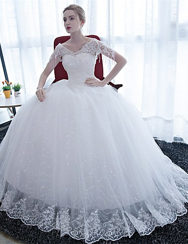 Ballkleid Hochzeitskleid Boden-Länge V-Ausschnitt Satin / Tüll mit Spitze