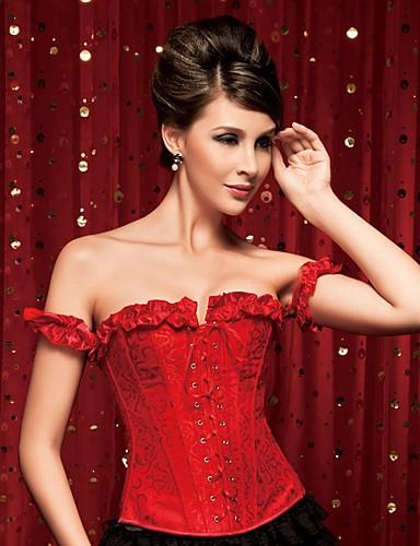 אישה מחוך מתחת לחזה / מחוך מעל החזה / מידה גדולה Nightwear-סקסית / פוש אפ / דפוס / Retro פרחוני-Medium ניילון / פוליאסטר אדום נשים