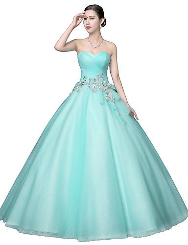 Ballkleid Prinzessin Trägerlos Boden-Länge Tüll Formeller Abend Kleid mit Kristall Verzierung Perlen Verzierung durch SG