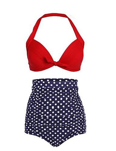 Damen Punkt / Retro / Hochgeschnitten Halter Rot Hose Bikinis Bademode - Punkt Druck XXL XXXL 4XL / Push-Up / Sexy