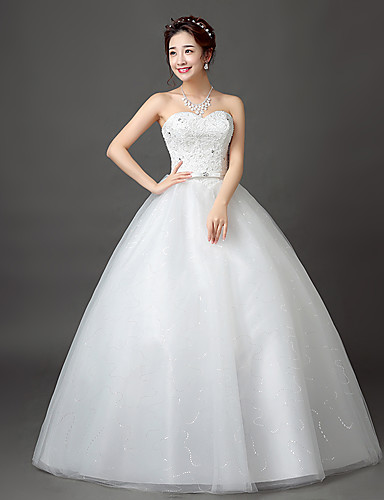 Ball Gown Sweetheart Neckline Floor Length Satin   Tulle   Beaded Lace  Made-To-Measure Wedding Dresses with Beading   Sash   Ribbon by LAN TING  Express ... 08799eedc1c9