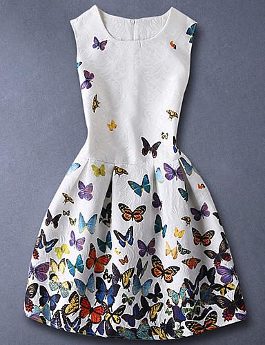 Mädchen Kleid Alltag Baumwolle Sommer Ärmellos Tierdruck Weiß