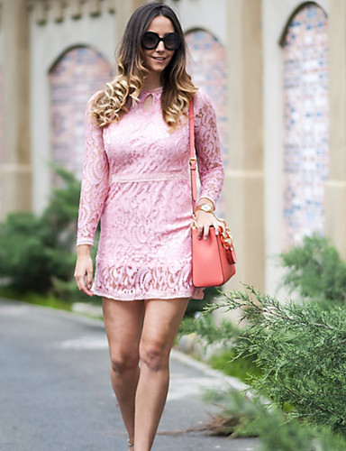 Women's Lace Dress - Solid Colored, Lace