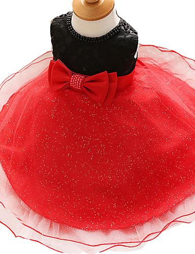תִינוֹק שמלה פוליאסטר כל העונות ללא שרוולים Party פרחוני הילדה של לבוש מהודר פפיון לבן אדום