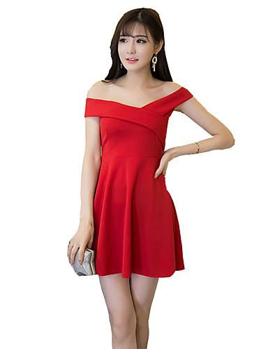 Mulheres Bainha Vestido,Bandagem Sensual / Boho Sólido Decote Canoa Mini Sem Manga Vermelho / Preto Náilon Verão