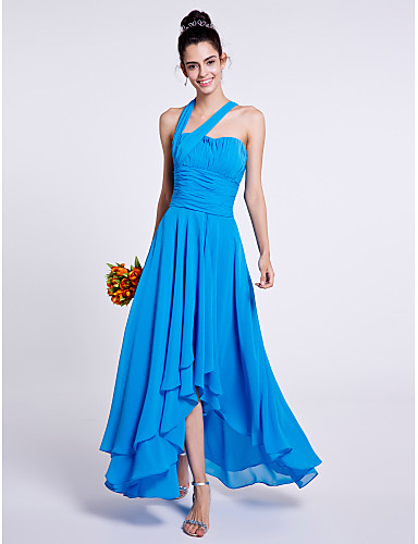 A-Line One Shoulder Asymmetrical Chiffon Bridesmaid Dress with Draping Ruched by LAN TING BRIDE®