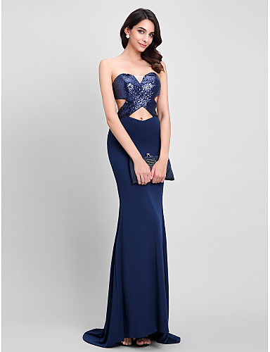 Mermaid / Trumpet Sweetheart Sweep / Brush Train Sequined Jersey Formal Evening Dress with Sequin by TS Couture®