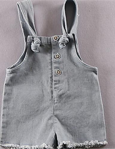 Tee-shirts / Pantalons Fille de Couleur Pleine Décontracté / Quotidien Coton Eté Marron / Gris