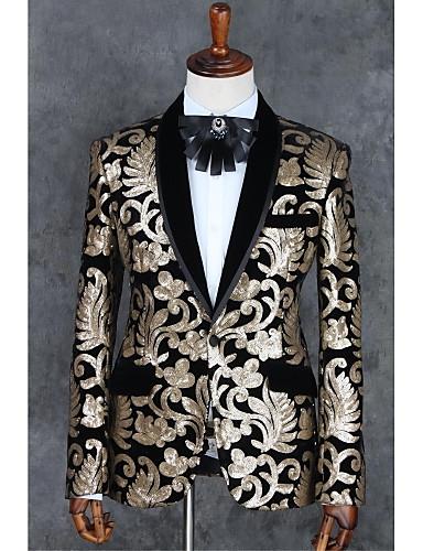 ライトブラウン 仕様 スリムフィット ポリエステル スーツ - ノッチドラペル シングルブレスト 一つボタン