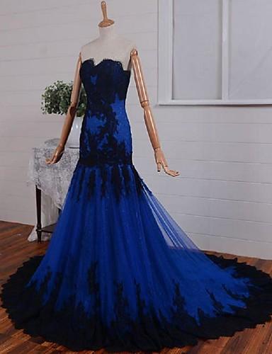צמוד ומתרחב לב (סוויטהארט) שובל קורט תחרה טול ערב רישמי שמלה עם אפליקציות על ידי TS Couture®