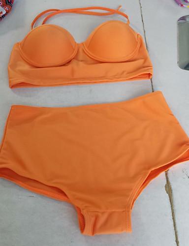 Kvinner Ensfarget Halter Bikinikjole Polyester