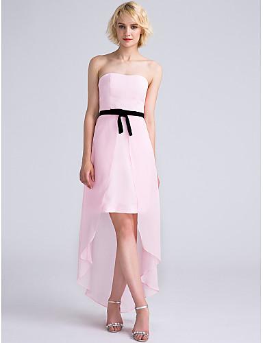 시스 / 칼럼 끈없는 스타일 비대칭 쉬폰 신부 들러리 드레스 와 리본 으로 LAN TING BRIDE®
