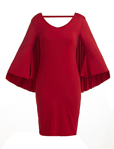 Kadın Günlük/Sade / Büyük Beden Elbise Solid,¾ Kol Uzunluğu V Yaka Diz-boyu Mavi / Kırmızı / Beyaz / Siyah Polyester Tüm MevsimlerNormal