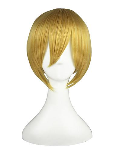 voordelige Cosplay & Kostuums-Vocaloid Kagamine Len Heren Dames 14 inch(es) Hittebestendige vezel Gouden Anime Cosplaypruiken