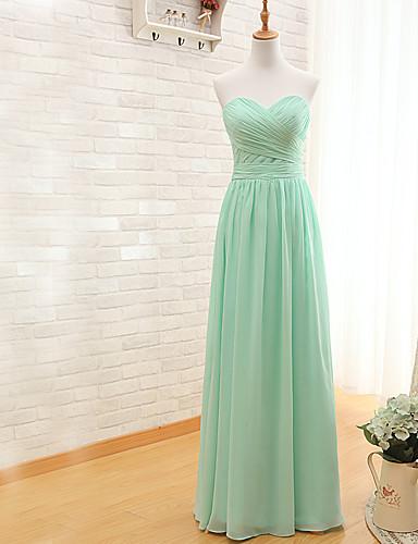 מעטפת \ עמוד לב (סוויטהארט) עד הריצפה שיפון שמלה לשושבינה  עם בד בהצלבה על ידי LAN TING Express