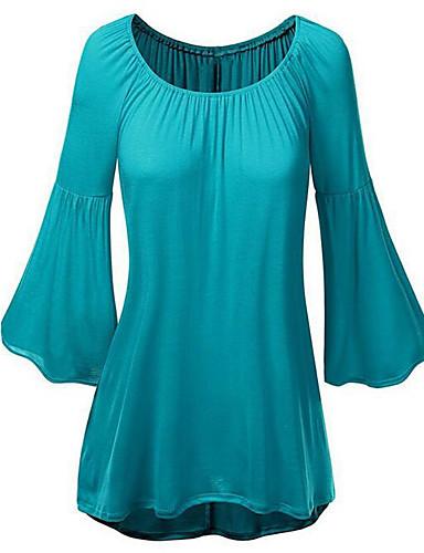 אחיד צווארון עגול סגנון רחוב יום יומי\קז'ואל חולצה נשים,אביב שרוול ארוך כחול / ורוד / אדום בינוני (מדיום) פוליאסטר