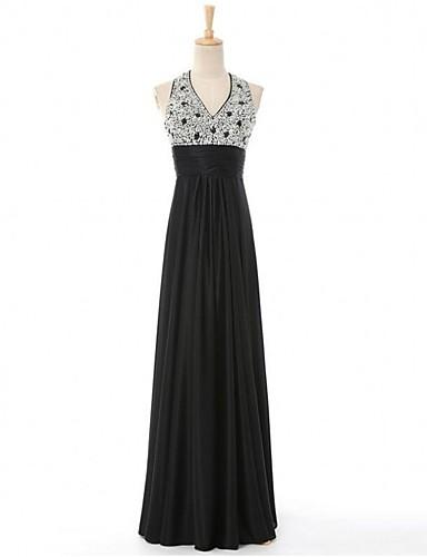 Bainha / coluna v-neck comprimento do chão cetim formal vestido de noite com beading