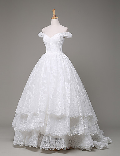 נשף סירה מתחת לכתפיים שובל סוויפ \ בראש תחרה שמלת חתונה עם תחרה על ידי LAN TING BRIDE®