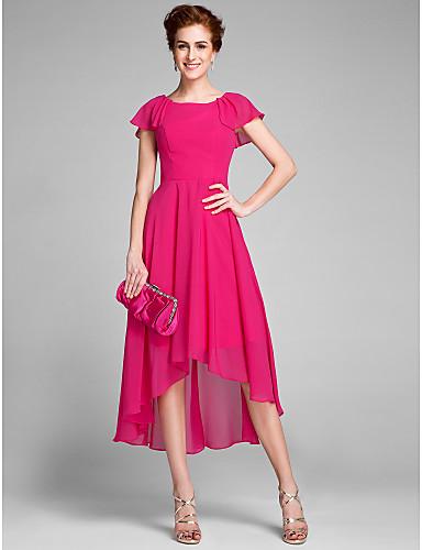 Sheath / Column Jewel Neck Asymmetrical Chiffon Mother of the Bride Dress with Ruffles by LAN TING BRIDE®
