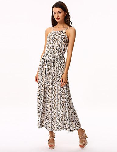 فستان نسائي متموج بوهو طباعة طويل للأرض زخرفات مع حمالة شاطئ