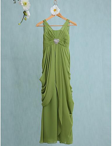 Sheath / Column V-neck Floor Length Chiffon Junior Bridesmaid Dress with Crystal Brooch by LAN TING BRIDE®