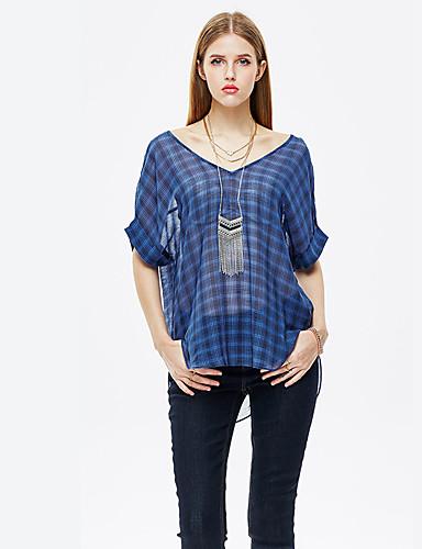 Verziert Einfach Ausgehen T-shirt,V-Ausschnitt Sommer ¾-Arm Polyester Dünn