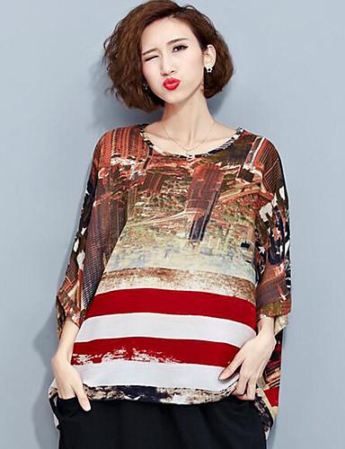 Tee-shirt Aux femmes,Imprimé Décontracté / Quotidien Chic de Rue Eté ½ Manches Col Arrondi Jaune Polyester Moyen