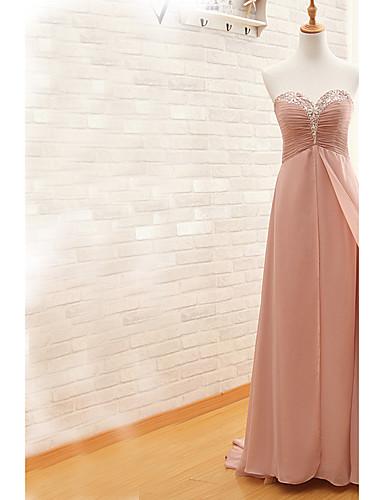מעטפת \ עמוד לב (סוויטהארט) שובל סוויפ \ בראש שיפון ערב רישמי שמלה עם חרוזים פרטים מקריסטל אסוף על ידי TS Couture®