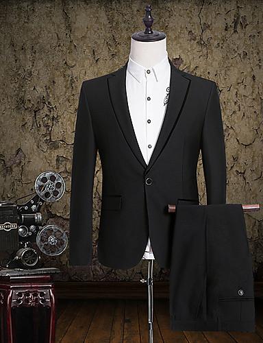 חליפות גזרה צרה פתוח Single Breasted One-button כותנה מוצק שני חלקים דש ישר ללא (חלק קדמי שטוח) שחור ללא (חלק קדמי שטוח)