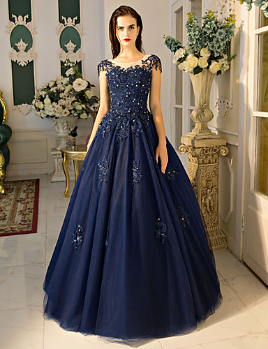 Ballkleid Schmuck Boden-Länge Spitze Tüll Formeller Abend Kleid mit Perlenstickerei Paillette Spitze durch QZ