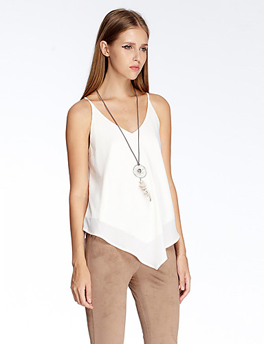 sydän Soul® Naisten Olkaimellinen Hihaton T-paita Ivory-11AA24154
