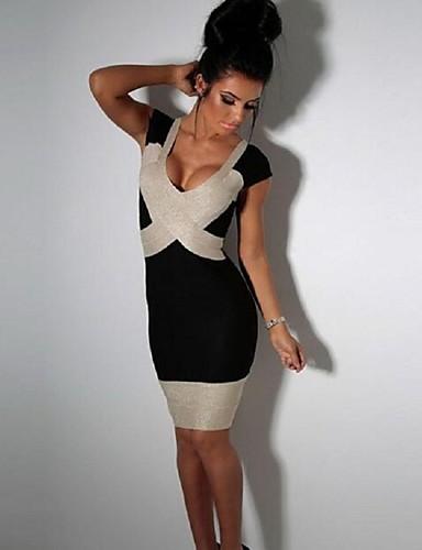 Damen Bodycon Kleid-Klub Sexy / Einfach Einfarbig V-Ausschnitt Mini Kurzarm Schwarz Polyester Sommer